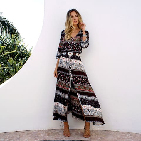 Women's Deep V Neck Boho Casual Maxi Dress