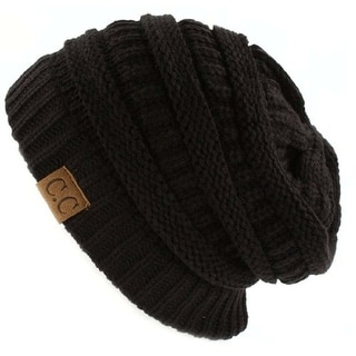Trendy Warm CC Chunky Soft Stretch Cable Knit Soft Beanie Skully, Black