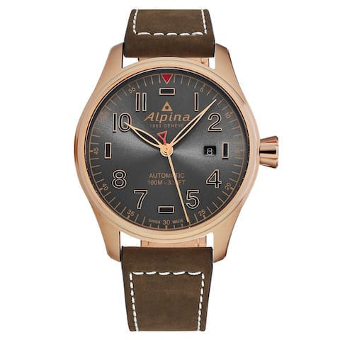 Alpina mens 'startimer pilot' grey dial brown leather automatic watch al525gg4s4