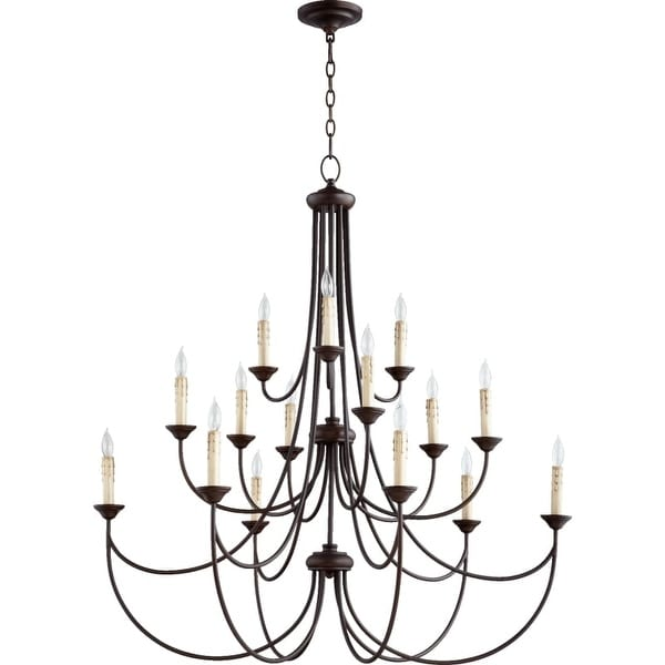 Quorum International 6250-15 Brooks 15 Light 3 Tier Candle Style Chandelier