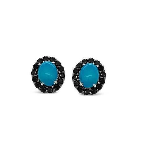 925 Sterling Silver 1.3 Carat Genuine Blue Opal & Black Spinel Stud Earrings for Women