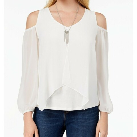 BCX White Women's Size XXS Cold Shoulder Popover V-Neck Blouse Set