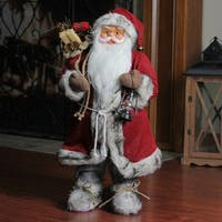 "24"" Alaskan Arctic Standing Santa Claus Christmas Figure with Lantern - RED"