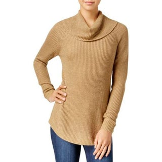 BCX Womens Sweater Cowlneck Metallic
