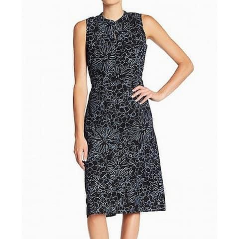 Joe Fresh Black Blue Womens Size Small S Floral Print Shift Dress