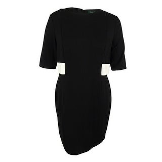 Ralph Lauren Women's Elbow Sleeve Ponte Dress - BLACK/WHITE
