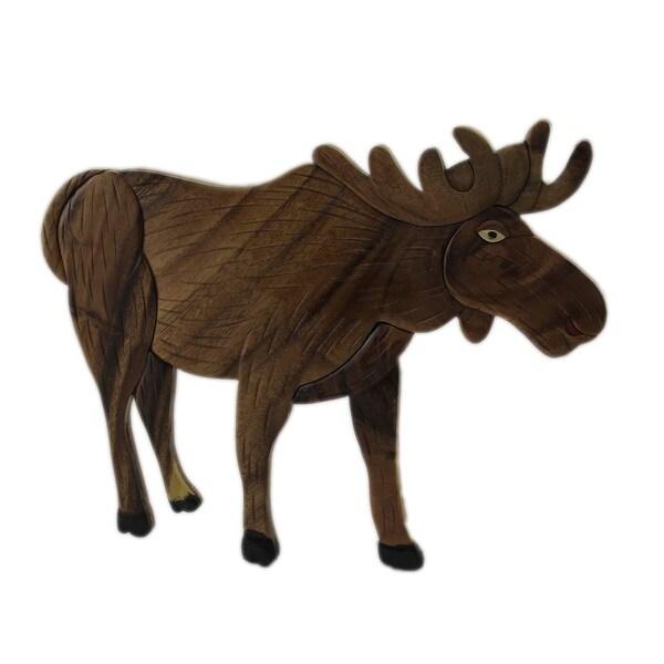 Shop Hand Carved Intarsia North American Moose Wood Art Wall Hanging