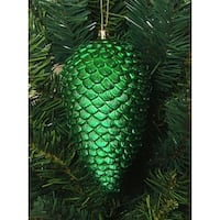 "6ct Xmas Green Shatterproof Glitter Pine Cone Christmas Ornaments 6.5"""