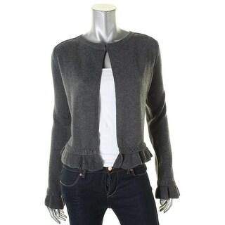 Aqua Womens Shrug Sweater Ribbed Trim Shrug