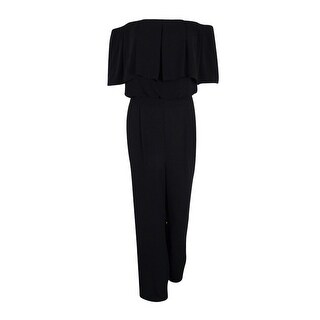 Vince Camuto Women's Off-The-Shoulder Ruffle Jumpsuit (Black, 14) - Black - 14