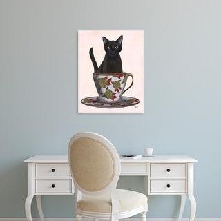 Easy Art Prints Fab Funky's 'Black Cat in Teacup' Premium Canvas Art