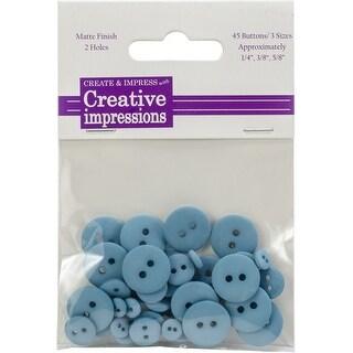 "Creative Impressions Resin Button Assortment 45/Pkg-Aqua 15 Each .25"", .375"" & .675"""