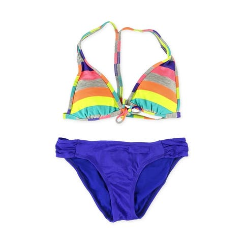 Hobie Womens Striped Side Tab 2 Piece Bikini