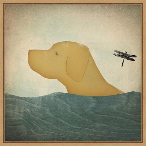 Yellow Dog Swim by Ryan Fowler Framed Canvas Art