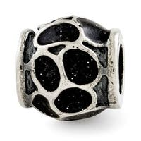 Italian Sterling Silver Reflections Black Enamel with Sparkles Bead
