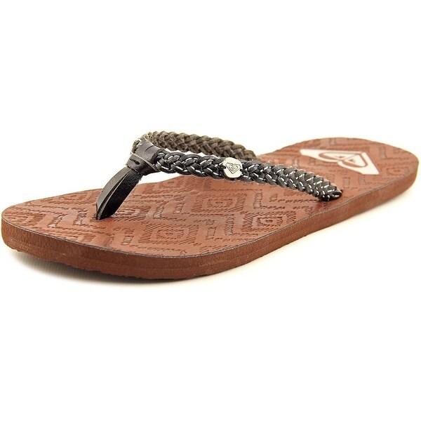 Roxy Grenada Women Open Toe Leather Black Flip Flop Sandal