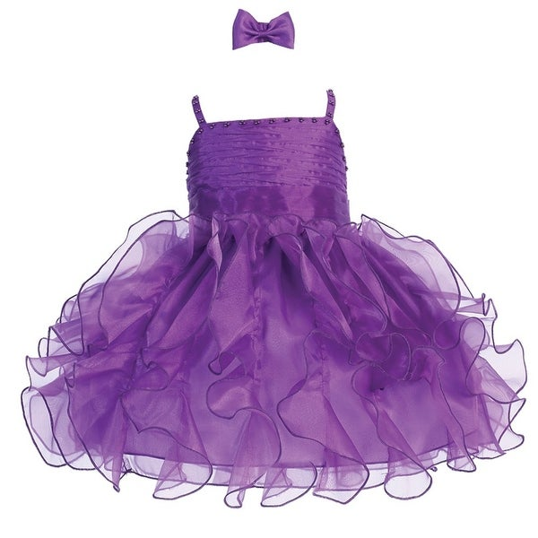 Baby Girls Purple Organza Ruffle Beaded Tab Strap Flower Girl Dress
