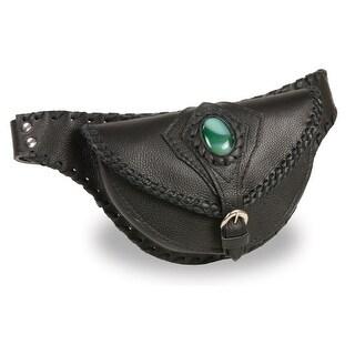 Ladies Black Leather Belt Bag With Gun Holster