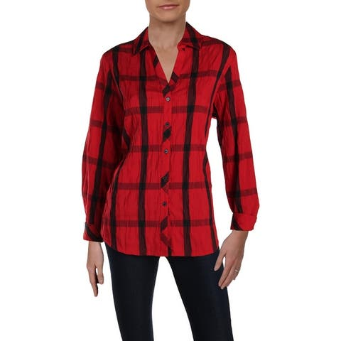 Foxcroft Womens Button-Down Top Window Pane Crinkled