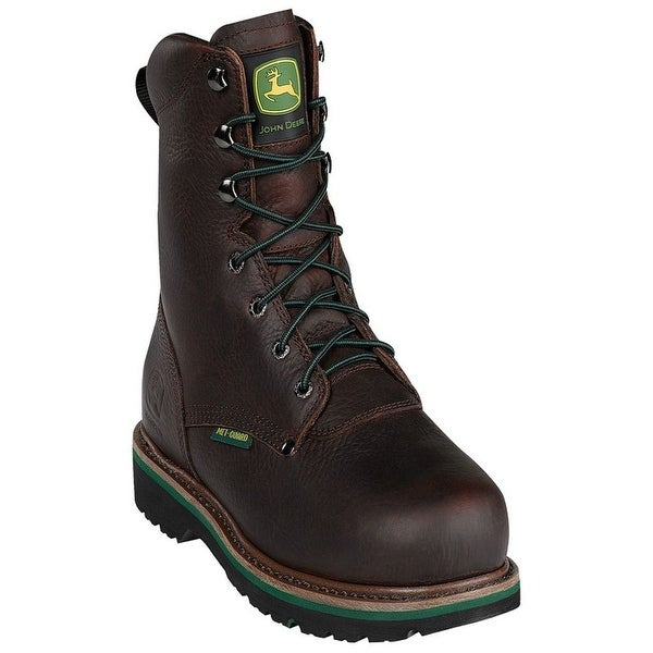 John Deere Work Boots Mens Steel Toe MET Lacer Dark Brown