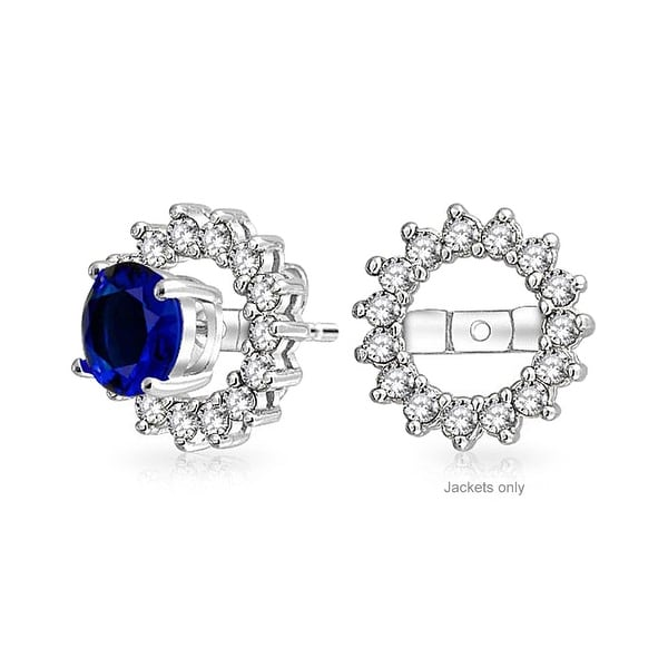 e1451879be Shop Cubic Zirconia Colorless CZ Round Halo Earrings Jackets For Studs in 925  Sterling Silver For Women Earrings not included - On Sale - Free Shipping  On ...