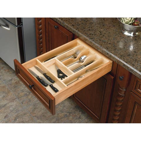 """Rev-A-Shelf 4WCT-3SH 4WCT Series 20.625"""" Wide Trimmable Maple Cutlery Tray Insert for 2-3/8"""" Depth Drawer - Natural Wood"""