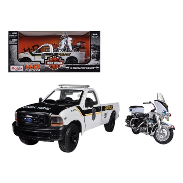 1999 Ford F-350 Super Duty Pickup Truck 1/27 and 1/24 2004 Harley Davidson FLHTPI Electra Glide Motorcycle Police by Maisto