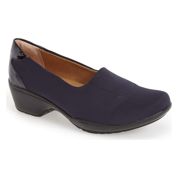 Softspots NEW Blue Navy Size 6W Patent Slip-On Loafers Shoes