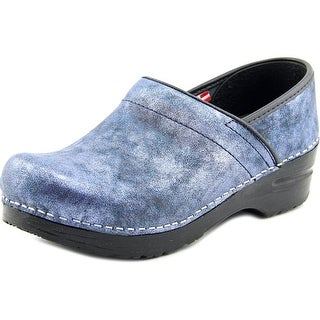 Sanita Margo Women Round Toe Leather Blue Clogs