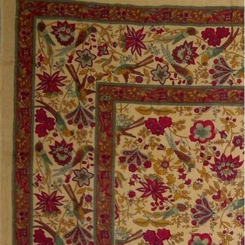 Handmade Birds of Paradise Tapestry Tabelcloth Coverlet 100% Cotton Mustard Twin