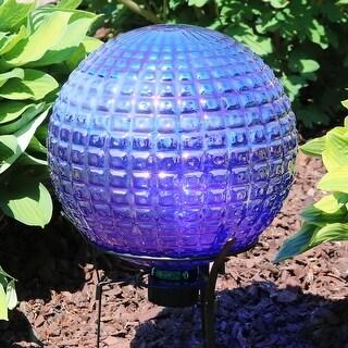 Sunnydaze Purple Textured Squares Gazing Globe Ball - 10-Inch - Set of 2 - Set of 2