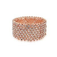 Bling Jewelry Multi Row XO Rose Gold Plated Crystal Stretch Bracelet - Pink