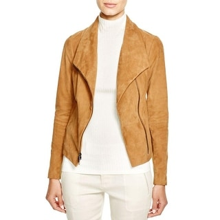 Vince Womens Bomber Jacket Leather Mixed Media