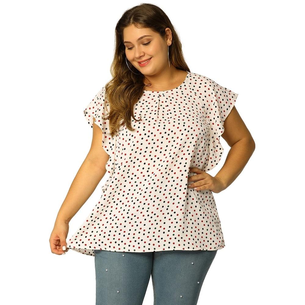 Womens Plus Size Chiffon Polka Dot Tank Top