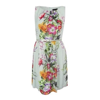 Connected Apparel Women's  Belted Floral-Print A-Line Dress - 12