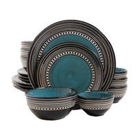 Gibson Elite Café Versailles 16 Piece Double Bowl Dinnerware Set - Blue