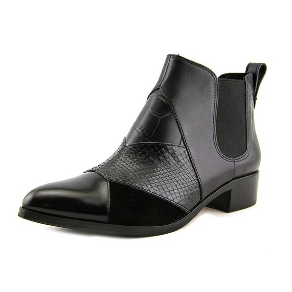 Coach Suffolk Patchwork Women Pointed Toe Leather Black Bootie