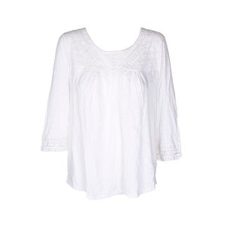 Style & Co Winter White 3/4-Sleeve Cotton Crochet-Trim Top L