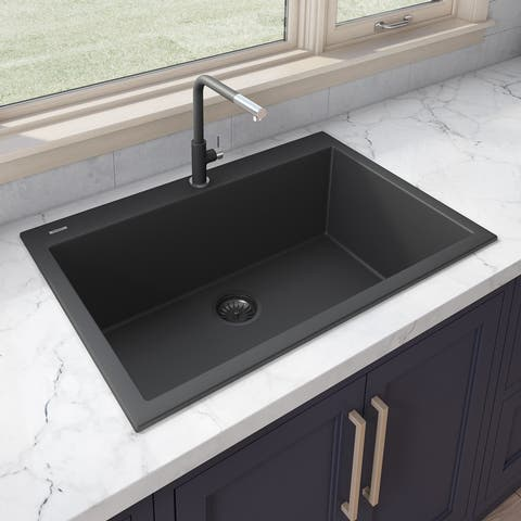 Ruvati 30 x 20 inch epiGranite Drop-in Topmount Granite Composite Single Bowl Kitchen Sink  Midnight Black  RVG1030BK