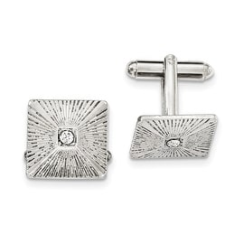 Silvertone White Crystal Textured Square Cuff Links