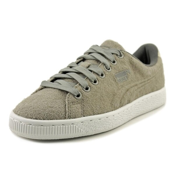 Puma Basket Classic Embossed Wool Women Round Toe Canvas Gray Sneakers