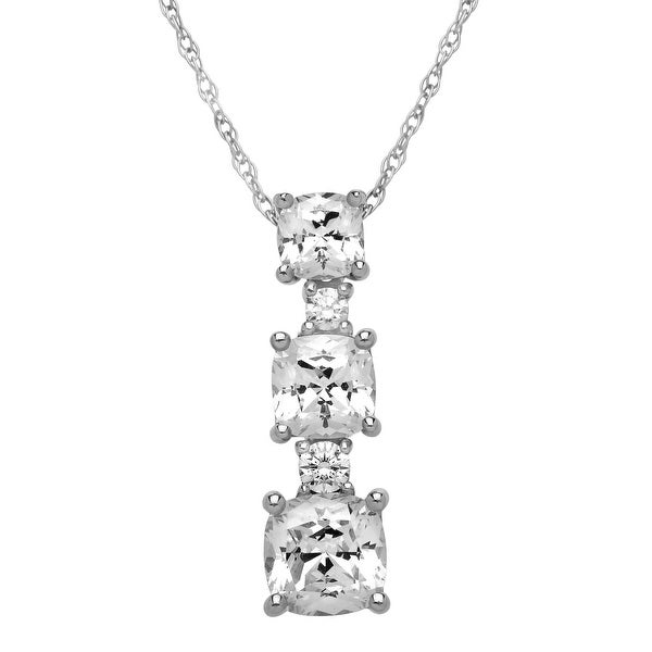 Drop Pendant with Swarovski Zirconia in Sterling Silver - White