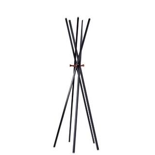 "Adesso WK2092 Andrew 67"" Tall (5) Hook Coat Rack - Matte Black / Walnut Ash - N/A"