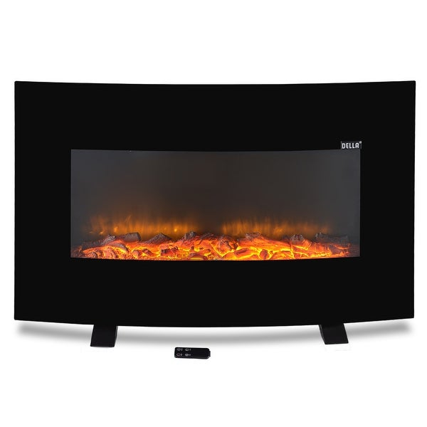 "Della 37"" inch Adjustable Electric Wall Mount & Free Standing Curved Fireplace Heater XL w/ Remote, 1500W"