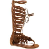 Forever Embrace 17 Womens Caged Gladiator Wrap Around Lace Up Flat Sandals Tan