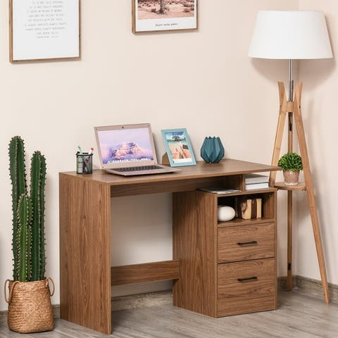 HOMCOM Compact Computer Desk with Split Open Shelves, 2 Pull Out Storage Drawers and Stable Wooden Frame, Walnut