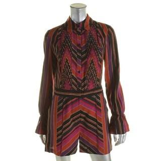 Diane Von Furstenberg Womens Ariella Romper Silk Blend Printed