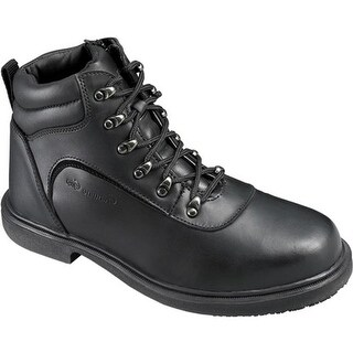 Genuine Grip Footwear Men's Slip-Resistant Steel Toe Boot Black Leather