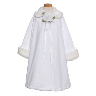 Kids Dream White Fleece Faux Fur Collar Cuff Stylish Coat Girls 4-12 (3 options available)
