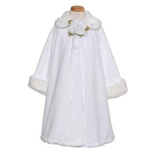 aedd163df Shop Kids Dream White Fleece Faux Fur Collar Cuff Stylish Coat Girls ...
